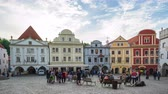 čeština : Timelapse video of people are travlling in Cesky Krumlov old town square in Czech Republic.