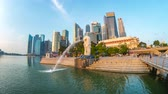 orta : Time lapse of Singapore Merlion Park in Singapore city, Singapore Stok Video