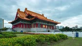 hala : Day to Night time lapse video of Chiang Kai-shek Memorial Hall National Concert Hall in Taipei city, Taiwan timelapse 4K Wideo