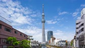 Tokyo, Japan - April 16, 2018: Time lapse video of Tokyo Sky Tree with cloudy sky in Tokyo, Japan timelapse