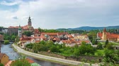 Cesky Krumlov skyline timelapse in Czech Republic time lapse