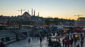 Istanbul city day to night time lapse near Galata Bridge in Turkey timelapse 4K