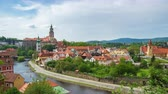 Cesky Krumlov skyline time lapse in Czech Republic Stock Footage