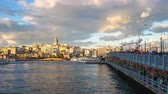 Istanbul, Turkey time lapse of Galata Bridge in Istanbul, Turkey