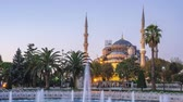 Sultan Ahmed Mosque night to day time lapse in Istanbul, Turkey
