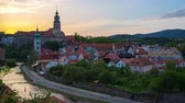 Sunset in Cesky Krumlov skyline time lapse in Czech Republic