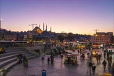 Istanbul, Turkey - October 25, 2018: People in Eminonu Bazaar  day to night time lapse in Istanbul, Turkey