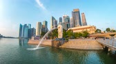 Singapore city, Singapore - April 9, 2018: Singapore city time lapse with landmark buildings in Singapore