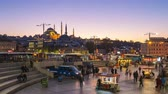 Istanbul, Turkey - October 25, 2018: Day to night time lapse crowd of people at Bazaar in Istanbul, Turkey
