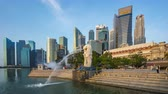 Singapore city, Singapore - April 9, 2018: Singapore cityscape with view of Merlion Park time lapse
