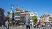 Guildhalls of Grote Markt of Antwerp time lapse in Belgium. Stock Footage