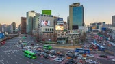 Time lapse video of busy traffic and car in Seoul, South Korea
