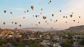 Cappadocia city skyline with flying balloon in Turkey.