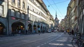 Bern old town with crowd of tourist and tram in Bern capital city of Switzerland. Stock Footage