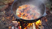soupon : Cooking meat on a fire in cast-iron cauldron. Stock Footage