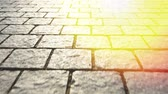 godo : Pavement made of stone. Beautiful garden walkway. Shine of sunlight.