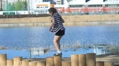 girl left : A Little Girl Jumping At Playground
