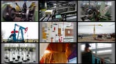 Industry-split screen ; Industrial plants and workers in a variety of factories, montage multiscreen