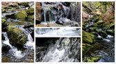 Waterfalls of the mountain river - split screen ; Several different video a beautiful mountain river with waterfalls unified into one multi screen