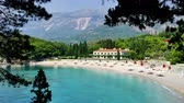 paluba : View of the beautiful Saint Stephens beach ; View of the beautiful Saint Stephens beach in Montenegro,