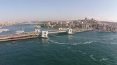 ahmet : aerial istanbul turkey eminonu mosque ship galata bridge Stock Footage