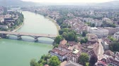The city of Basel from above 動画素材