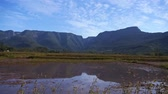 santa catarina : Relection Of Canyons In A Huge Pond Of Water - Tilt Stock Footage