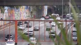 buidling : Car, People And Life On A Bridge In A City Stock Footage