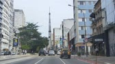 buidling : Driving On The Main Road In The City Of Sao Paulo - Front Angle Stock Footage