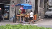 buidling : Outdoor Vendor At Corner Of City Street