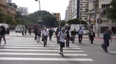buidling : Sao Paulo - People Crossing Zeb Line In The City
