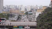 grafiti : Sao Paulo City - Busy Bridge With A Backdrop Of Buildings And Vehicles