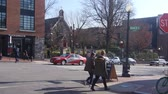 dc : Girls Walking In Street Near Sign, Cars And Truck - Static Stock Footage
