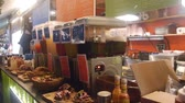 taksi : Ice Tea Buckets And Food On Stand In Buffet Restaurant - Slide - Right To Left