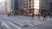 kereszt : People Crossing Large Street On Zebra Crossing - Pan - Right To Left Stock mozgókép