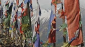 山頂 : Colorful buddhist prayer flags on flagpoles sway over harsh snow mountain, Nepal 動画素材