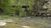 řev : Sliding video of mountain river in canyon with old wooden bridge Dostupné videozáznamy