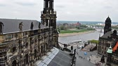 chimes : View over old town of Dresden Elbe river to. In the foreground Hofkirche. Bells ringing of the Hofkirche Stock Footage