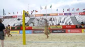 saraivada : MOSCOW - JUN 6: (Timelapse View) Workers level sand on sports ground on 5th draw of MOSCOW GRAND SLAM on beach volleyball on Poklonnaya Gora, on Jun 6, 2012 in Moscow, Russia Stock Footage