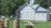 Village house and garden near Saint Sofia cathedral in Vologda, Russia