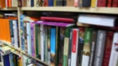 regał : books on bookshelfs in bookshop, vertical panning, defocused