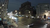 metropolitan : Night city: car traffic on Mira prospekt, Moscow, Russia. Timelapse Stock Footage
