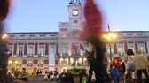 MADRID - MAR 9: (Timelapse View) People walk on area Puerta del Sol near an old building of mail, on Mar 9, 2012 in Madrid, Spain Vídeos