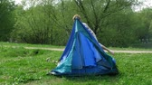 kids tent : The boy establishes tent on a glade in summer day. Time lapse.
