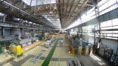 nagylátószögű : Rolls of aluminum lie in production shop of rolling mill, time lapse Stock mozgókép