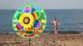 bagatela : Multicolored toy with sunflower in center, that spins on the background of sea and a boy walking on shore