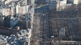 paris suburb : left homes, and to right cemetery of Montparnasse in Paris day, top view