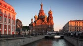 кресты : Church of Savior on Spilled Blood at channel St. Petersburg in evening