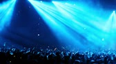 pessoal : Lot of people at rave party, crowd dance in blue light of projectors