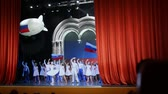 üdvözlettel : MOSCOW - AUGUST 22: Actors from Russian National ballet Kostroma left to say goodbye to spectators on scene of Concert Hall Cosmos, August 16, 2010 in Moscow, Russia.